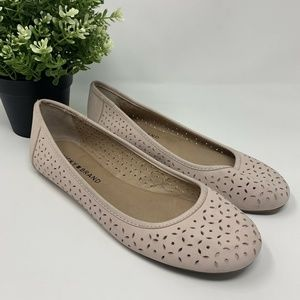 Lucky Brand Eyelet Ballet Flats Pink Slip On Shoes